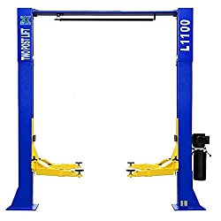 A blue and yellow car lift
