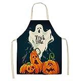 DerDer Delantal de Halloween, delantal de barbacoa de algodón y lino de Halloween