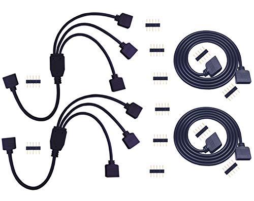 2pcs 1m RGBW LED Verlängerungskabel 5 polig LED Streifen Verlängerung + 2pcs RGBW LED Strip Splitter 1 to 3 LED Stripe Verteiler Kabel 1 zu 3 LED Controller Verbinder für RGBW 5050 LED Band, Schwarz