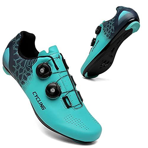 CHUIKUAJ Zapatillas de Ciclismo para Hombre, Mujer, Bicicleta de Carretera, Zapatillas para Montar, Tacos con Hebilla, Compatibles con SPD, para Montar en Interiores y Exteriores,Blue-40EU