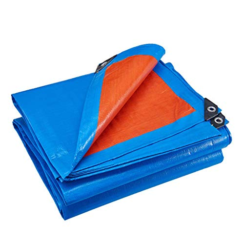 WTTO Industrial Grade Heavy Duty Tarps, Windproof Antifreeze Tarpaulin with Grommets Reversible Tarp Cover for Car/Boat/Camping/Firewood Woodpile/Greenhouse Potted,Blue/Orange_9x21ft/3x7m