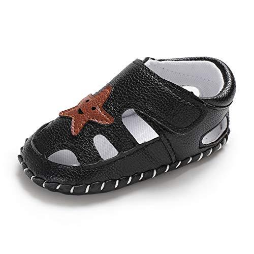 Geagodelia Baby Sandalen Weicher Lauflernschuhe Hausschuhe für Kleinkind Junge Mädchen mit Modern Sterne Muster (6-12 Monate, Schwarz)