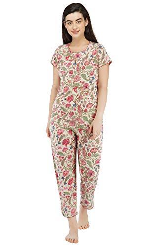Artemis Women's Cotton Floral Pyjama Set (PJ30058-X-Large_X-Large_Red)
