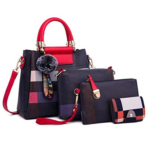 SPFTOY Damen Handtaschen,Handtasche Leder Tasche Set mit Crossbody Tasche Umhängetasche Damen Henkeltaschen Handgelenktasche-Blaues Plaid