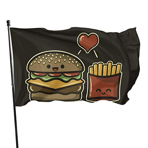 tenghanhao Drapeaux Flag 3 X 5 Ft Burger and Fries Home Decoration Durable Polyester for Outdoor/Indoor/Garden