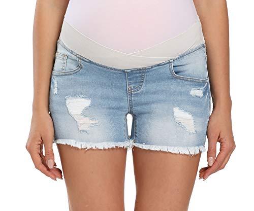 Foucome Schwangerschafts-Shorts für Damen, Unterbauch, breites elastisches Band, Taille, Denim Gr. XL, hellblau