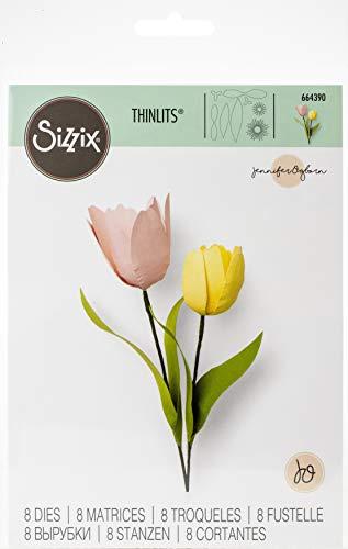 Sizzix 664390 Set di Fustelle Thinlits 8 pz Tulipano di Jennifer Ogborn, Multicolore, Taglia unica