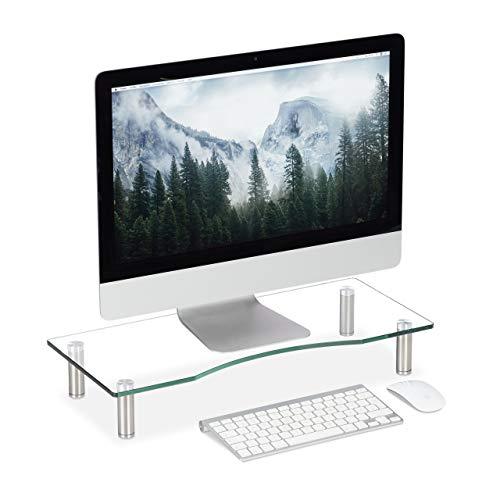 Relaxdays Soporte Monitor, Elevador Pantalla Ordenador, Ajustable, Portátil, Cristal, 1 Ud, Transparente, Mediano