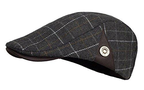 Kuyou Herren Gatsby Mütze Flat Cap Schiebermütze Ivy Kapppe Hüte (Grau/Weiß)