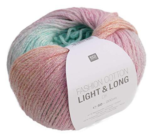 Rico Fashion Cotton Light & Long dk Fb. 03 pastell multicolor, Baumwollgarn mit langem, dezentem degradé Farbverlauf zum Stricken & Häkeln