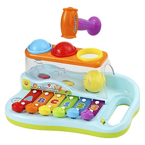 Ucradle Xylophon für Kinder 1 Jahr, ideales Lernspielzeug für die frühe Erziehung des Babys, mit 3 farbigen Kugeln und kleinem Hammer, perfekt für kleine Musiker