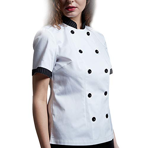 WMOFC Kochjacke,Kurzarm Chef Jacke Uniform Baumwolle Küche Hotel Kochkleidung Herren Und Damen Berufsbekleidung Bäckerjacke,Women,XL