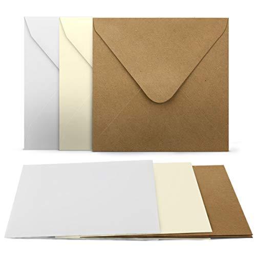 30 Faltkarten mit Umschläge Set - Quadratisch - 240 g/m² 220 g/m² - Weiss - Creme - Kraft - mit Blankokarten passenden Briefumschlägen - 120 g/m² 90 g/m² Nassklebung - Kuvert Karte
