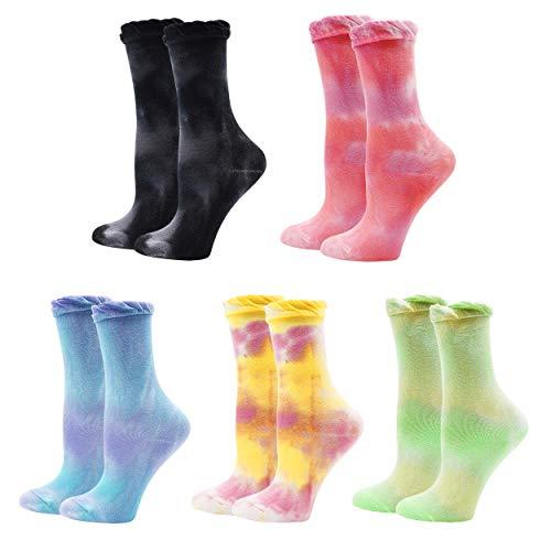 Lovful Batik-Socken aus Baumwolle, Crew-Socken für Damen, niedliche Rüschen mit Rüschen, bunte Socken, 5 Paar, mehrfarbig