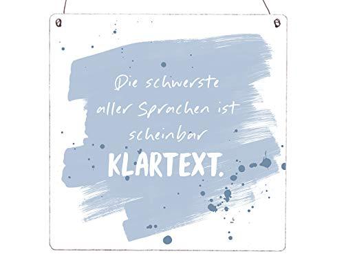 Interluxe XL Holzschild Vintage Shabby DIE SCHWERSTE Sprache IST SCHEINBAR KLARTEXT Single Spruch Beziehung