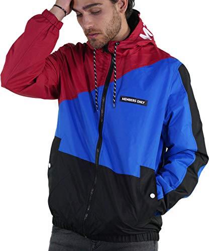 Members Only Men's Asym Color Block Windbreaker Jacket - Red S