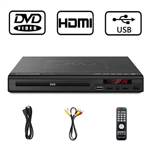 DVD Player for TV,Foramor New HDMI 1080P DVD Player Updated Decoder Anti-Shock Design Plays Region Free DVDs Multi Formats Memory Play Home DVD Player with Free HDMI Cable