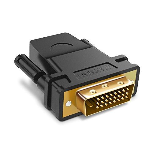 UGREEN Adaptateur DVI D vers HDMI 1080P Full HD Connecteur DVI 24 1 Mâle HDMI Femelle Convertisseur pour PC Ordinateur Carte Graphique Écran Télévision HD Projecteur PS4 Xbox One GTX 1660 970