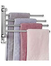 JSVER Handdoekrails met 4 Draaibare stangen, SUS304 Roestvrijstalen Geborsteld Handdoekenrek, Wandmontage 340 mm Badkamerhanddoekhouder voor Keuken, Toilet, Garderobes en Badkamers