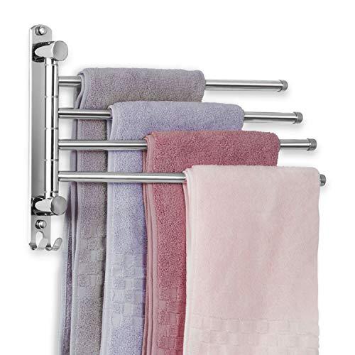 JSVER Edelstahl Handtuchhalter Bad Schwenkbar 4 armig Handtuchstange Wandmontage 34CM Handtuchhaltern Gebürstet für Küche, WC, Garderobe und Bad