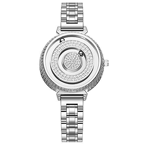 EUTOUR Uhren Damen, Luxus Volle Diamanten Bling Damenuhr, Analog Schweizer Quarzwerk Uhr für Damen, Glänzende Strass Armbanduhr mit Edelstahl Armband