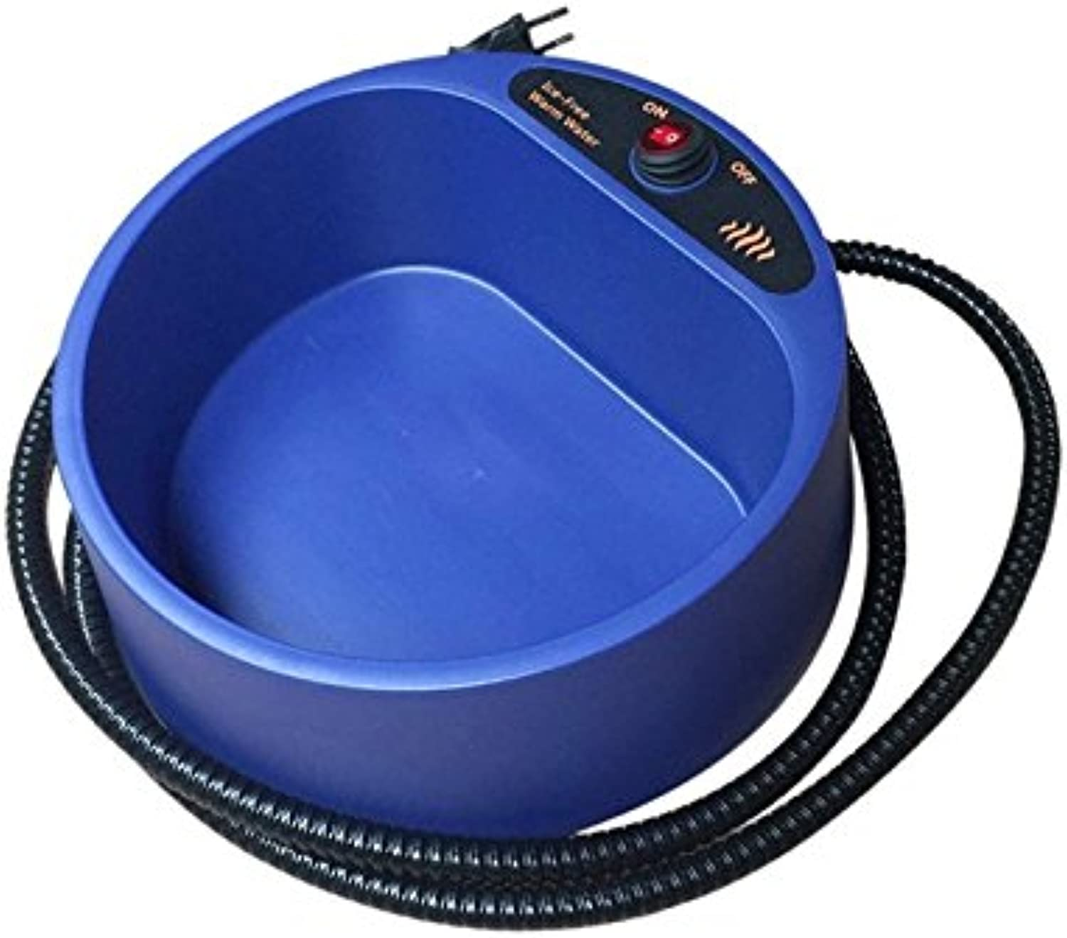 Fashionwu Dog Cat Pet Electronic Heated Water Bowl Dish Outdoor Thermal Water Feeder Heater bluee U.S.Specification