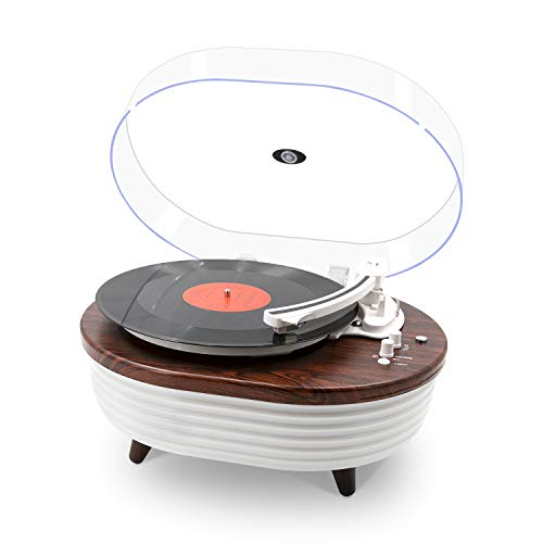 Record Player, Vintage 2-Speed Bluetooth Turntable with Built-in Stereo Speaker, 6 Lighting Modes Vinyl Record Player for 7/10/12inch Vinyl Records, Equipped RCA(Red Wood)