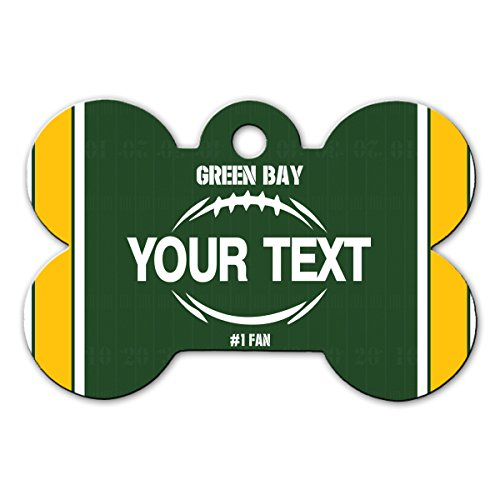 BleuReign(TM Personalized Custom Name Football Green Bay License Plate Bone Shaped Metal Pet ID Tag with Contact Information
