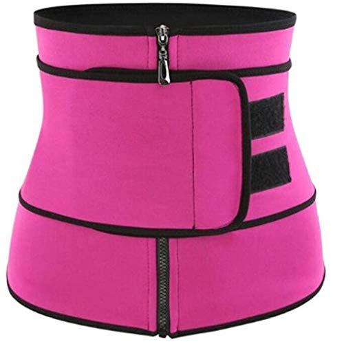 Youmymine Waist Trainer Belt for Women - Unisex Waist Cincher Trimmer - Slimming Body Shaper Belt - Sport Girdle Zipper Belt (XL, Hot Pink)