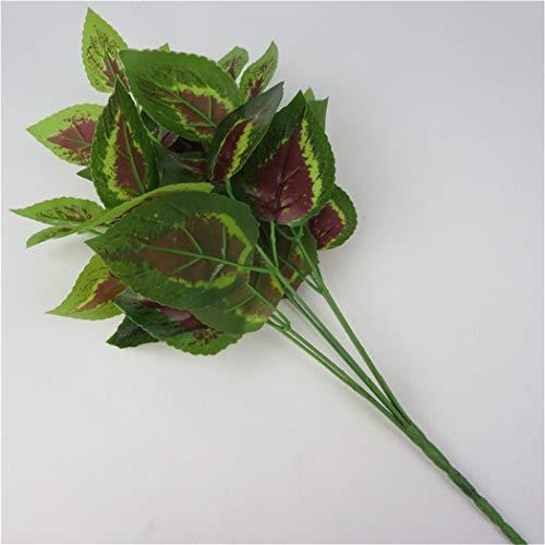 ICUTEDIY Künstliche Pflanzen Gefälschtes Grün Perilla Blätter Pflanzen Plastikgras Für Indoor Outdoor Hausgarten Dekoration