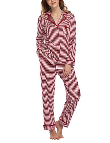 Aranmei Pigiama Donna Estate Manica Corta Pigiama da Donna T-Shirt con Taschino /& a Strisce Pantaloncini Corti