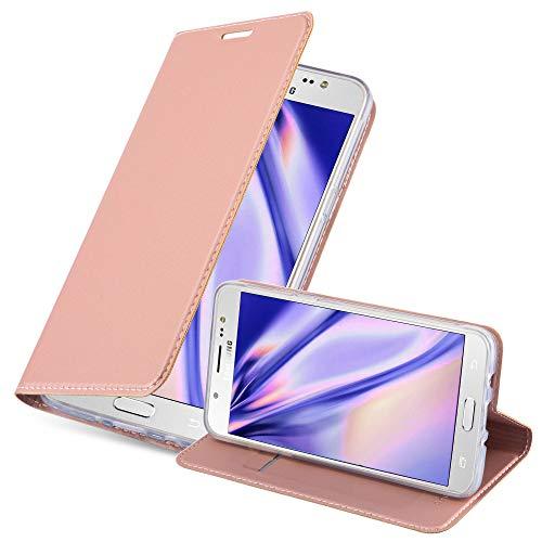Cadorabo Funda Libro para Samsung Galaxy J5 2016 en Classy Oro Rosa - Cubierta Proteccíon con Cierre Magnético, Tarjetero y Función de Suporte - Etui Case Cover Carcasa