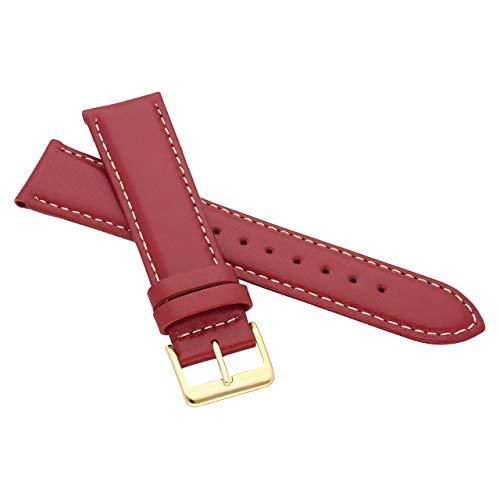 MARCHEL Lederarmband LLB 19 mm Rot-Weiß aus Echtleder mit Goldener Schließe