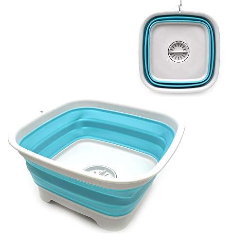 SAMMART 9.3L (2.46Gallon) Plato Plegable con tapón de Drenaje - Lavabo Plegable - Tina portátil para Lavar Platos - Bandeja de Almacenamiento de Cocina Que Ahorra Espacio (Azul Brillante)