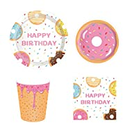 CC HOME Donut Birthday Party Decorations ,Donut Time Party Supplies Pack – Serves 16 – Includes Plates, Cups and Napkins. Donut Theme Party Supplies,Supply Tableware Set Kit for Appetizer, Lunch, Dinner, and Dessert,Boys,Girls ,Donut Themed Parties.Baby Shower, Birthday,Anniversary Parties