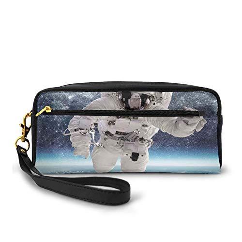 Piccola borsa per il trucco, con motivo astronauta in milkyway stampa Galaxy Stardust Earth Home Decor, in pelle PU con zip da viaggio cosmetici e matita organizer