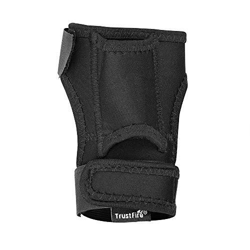 TrustFire DF008 - Funda para linterna de buceo, soporte para linterna, funda de nailon, funda para muñequera, soporte para buceo, fitness, guantes de fitness, elástico y negro
