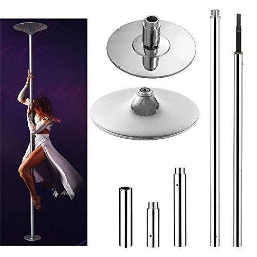 go2buy Dance Pole 45mm Solid Dancing Fitness Portable Pole Static/Spinning Stripper Exercise Pole,Silver