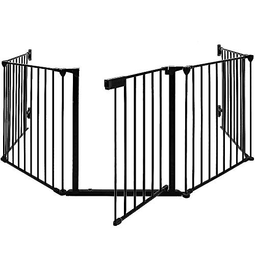 Barrera de Seguridad de 5 Paneles Plegable Guardia de Seguridad para Bebés, Chimenea (Negro, 5 Paneles)
