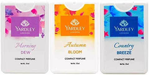 Yardley London Compact Perfume Tripack (Autumn Bloom + Country Breeze + Morning Dew) for Women, 18ml Each (Pack of 3)