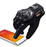 ARTOP Guantes Moto Verano Anti-Deslizante Anti-Colisión con Dedo Táctil Muy Buena Protección para Hombres(Negro,L)