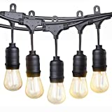 LED Outdoor String Lights,TaoTronics 50ft Commercial Grade Outdoor Patio Lights,Heavy Duty Weatherproof Strand with 16xS14 LED Bulbs (One Spare),Connect up to 30 String Lights,UL588 Approved