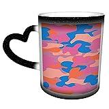 Motivo mimetico senza cuciture in blu rosa Tazze che cambiano colore, tazze da caffè d'arte magiche e divertenti, tazze in ceramica, regali per la famiglia e gli amici