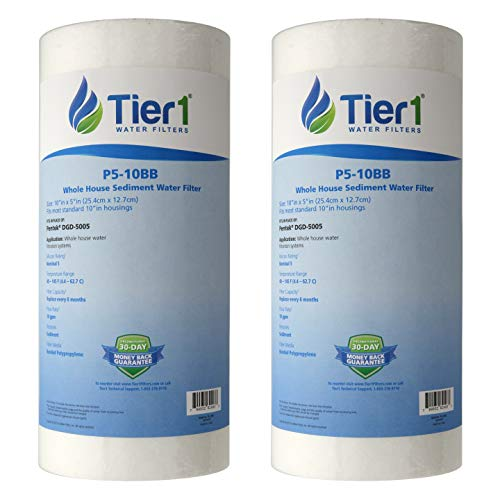 Tier1 Replacement for DGD-5005 5 Micron 10 x 4.5 Spun Wound Polypropylene Sediment DGD-5005 Water Filter 2-Pack