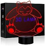 Pokemon 3D Illusion Lamp Unique Night Light Bear Shape 16 Couleurs Optiques LED Lampes dans une décoration de pépinière ou une chambre à coucher idéale pour la famille des enfants Kiddie Kids