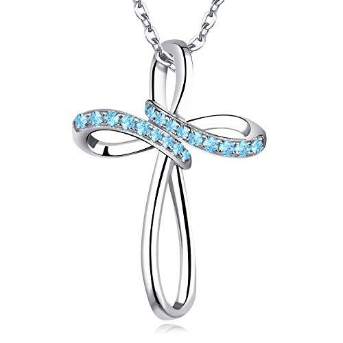 JO WISDOM Kruis Ketting,925 Sterling Zilveren AAA Kubieke Zirconia Kruis Keltische Kruis Hanger Ketting voor vrouwen