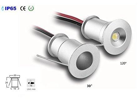 takestop® 9 stuks mini LED-inbouwspot 1 W koudwit licht 6000 K CREE COB lichaam zilver aluminium kartonnen papier licht lamp