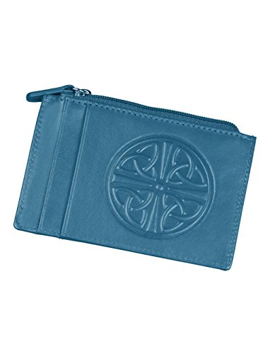 Women's Celtic Knot ID Wallet - Leather - RFID Blocking - 4.5' x 3' - Blue