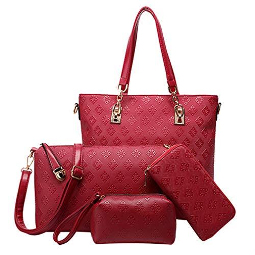 Pahajim Bolso Mujer Bolso de 4 Unidades Set Bolsos Modernos de Mujer Conjuntos de Bolsos Para Mujer El Bolso de Mano de Las Mujeres y Los Bolsos de Cuerpo Cruzado(Rojo)