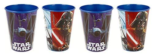 Theonoi 4 x Kinder Trinkbecher Glas 260 ml Becher Glas aus Kunststoff BPA frei - Geschenk für Jungen Star Wars